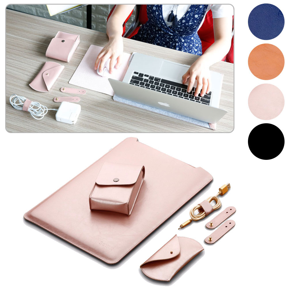 1 Set 4pcs PU Leather Sleeve Case Laptop Bag Sleeve Pouch for Apple MacBook 11 13