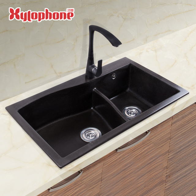Quartz Stone Kitchen Sink Granite Undermount Sink Double Bowl ...