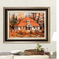Diy Oil Painting Digital Red Forest House Picture Frame Painting Wall Digital Canvas Home Living Room