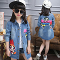 Kids Girls Denim Jacket 2017 Spring New Children's Clothing Fashion Slim Long Sections Trench Coat Cartoon Kids Outerwear