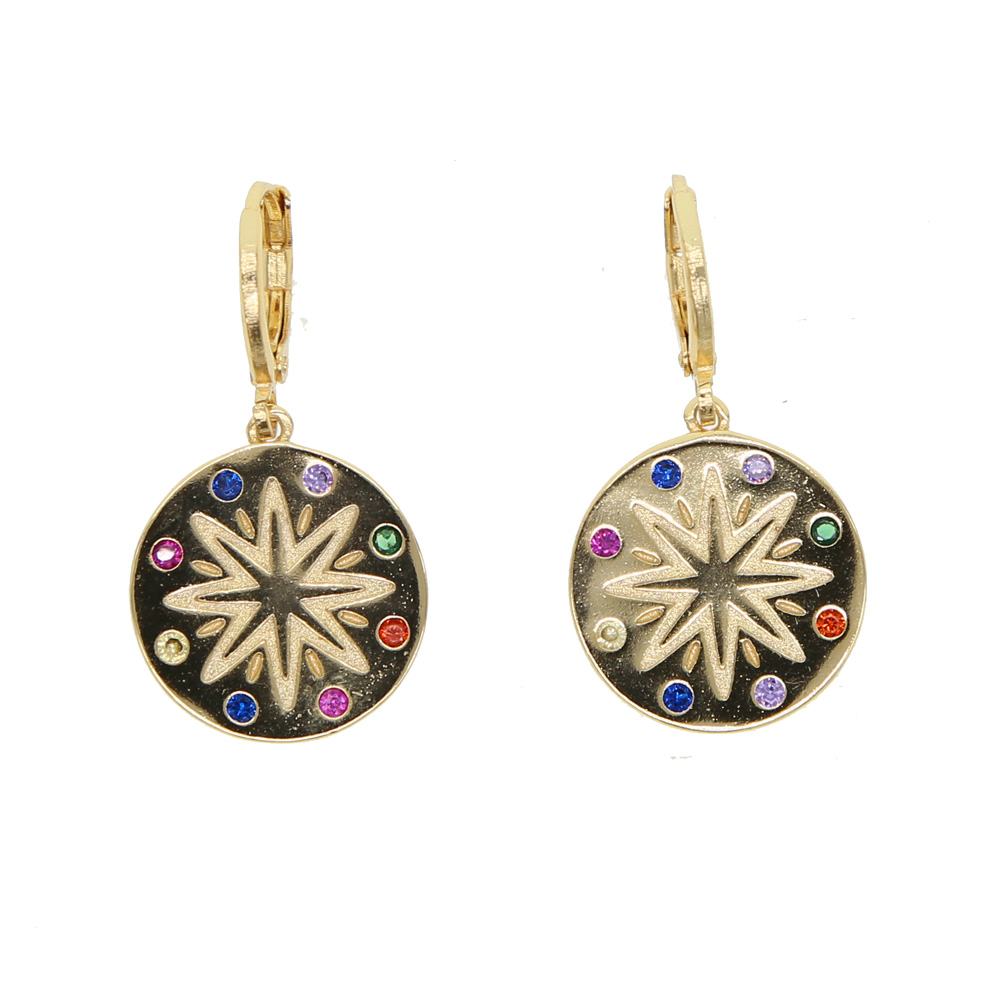 2019 Luxury colorful Round coin gold color earring for women rainbow CZ engrave north star Bohemia style fashion jewelry gifts