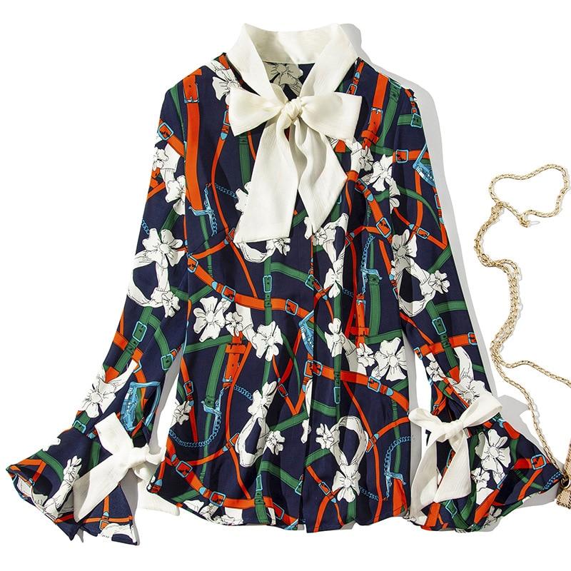 2019 Photo Élégant Nœud D'impression Flare Wyg Coton Soie Blouses Mélange Contraste Boîtes Blanc Printemps Floral Chemises Nouveauté De Manches Papillon Dames As q11tr