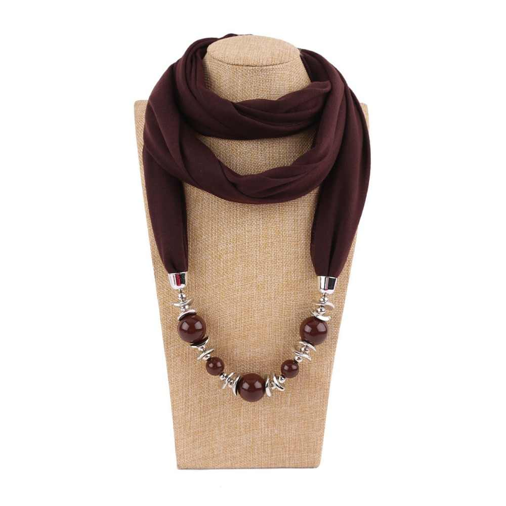 2019 New Colorful Pearl  Pendant Scarf Necklace for Women Muffler Necklace Wrap bandana  Jewelry