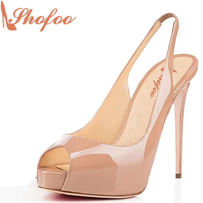Shofoo 2017New Arrive Women Sexy Peep Toe Super High Heels Platform Slingback Pumps Shoes Dress&Wedding&Party Large Size 4-16 zgpax s99 mtk6580 quad core 3g smart watch phone android 5 1 8gb rom 5 0 mp camera gps wifi pedometer heart rate smartwatches