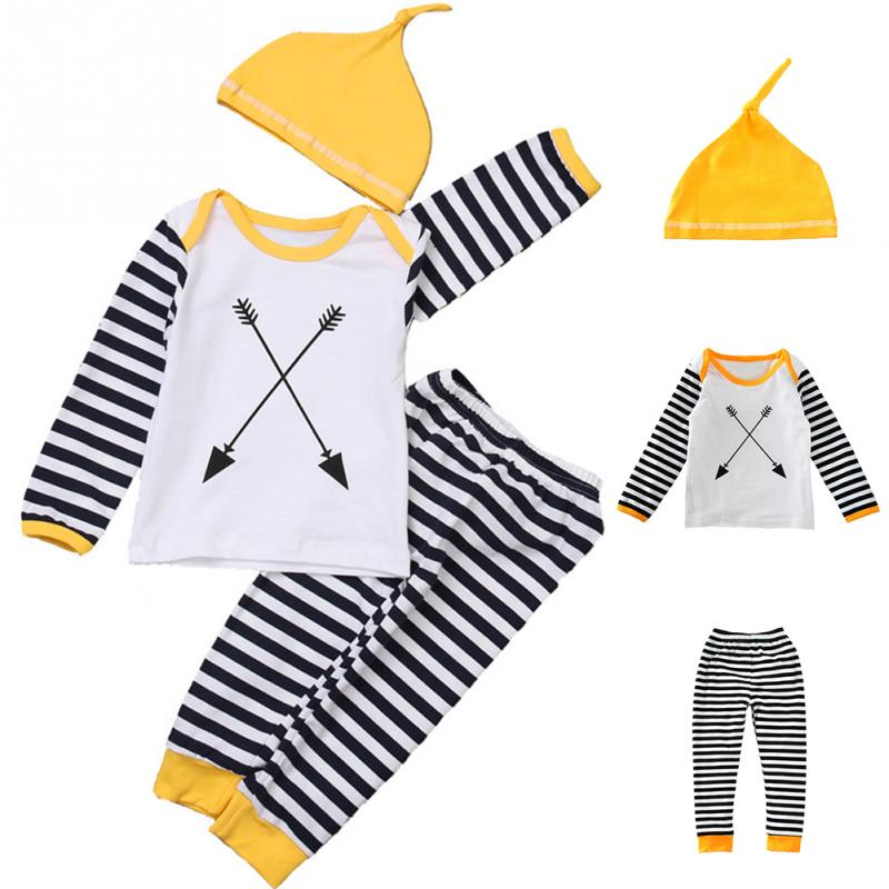 2018 3pcs Hot Sale baby boy clothing set long sleeved stripe T shirt +pants+hat fashion baby Cool clothes newborn