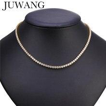 JUWANG-gargantillas de tenis de circonia cúbica AAA para mujer, collares de cadena de lujo de cristal ostentoso, joyería