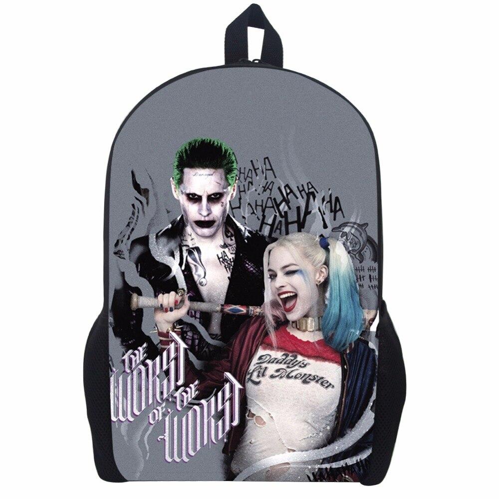 17 Inch Suicide Squad Backpack For Teenager Children Harley Quinn Joker School Bags Mens Women Shoulder Bag #2