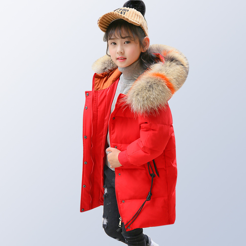 Children Winter Coat Teen Girls Clothing Kids 2018 Winter Jackets with Fur Collar Thick Hooded Long Down Coat for 6 10 14 Years fashion girls winter down coat teenagers long down thick warm coat parkas fur collar hooded jackets clothing children snowsuit