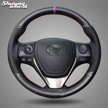 Shining wheat PU Carbon Fiber Leather Steering Wheel Cover for Toyota RAV4 2013-2017 Corolla 2014-2017 Auris 2013-2016 Scion iM сумка hstyle kd2206 2013 pu