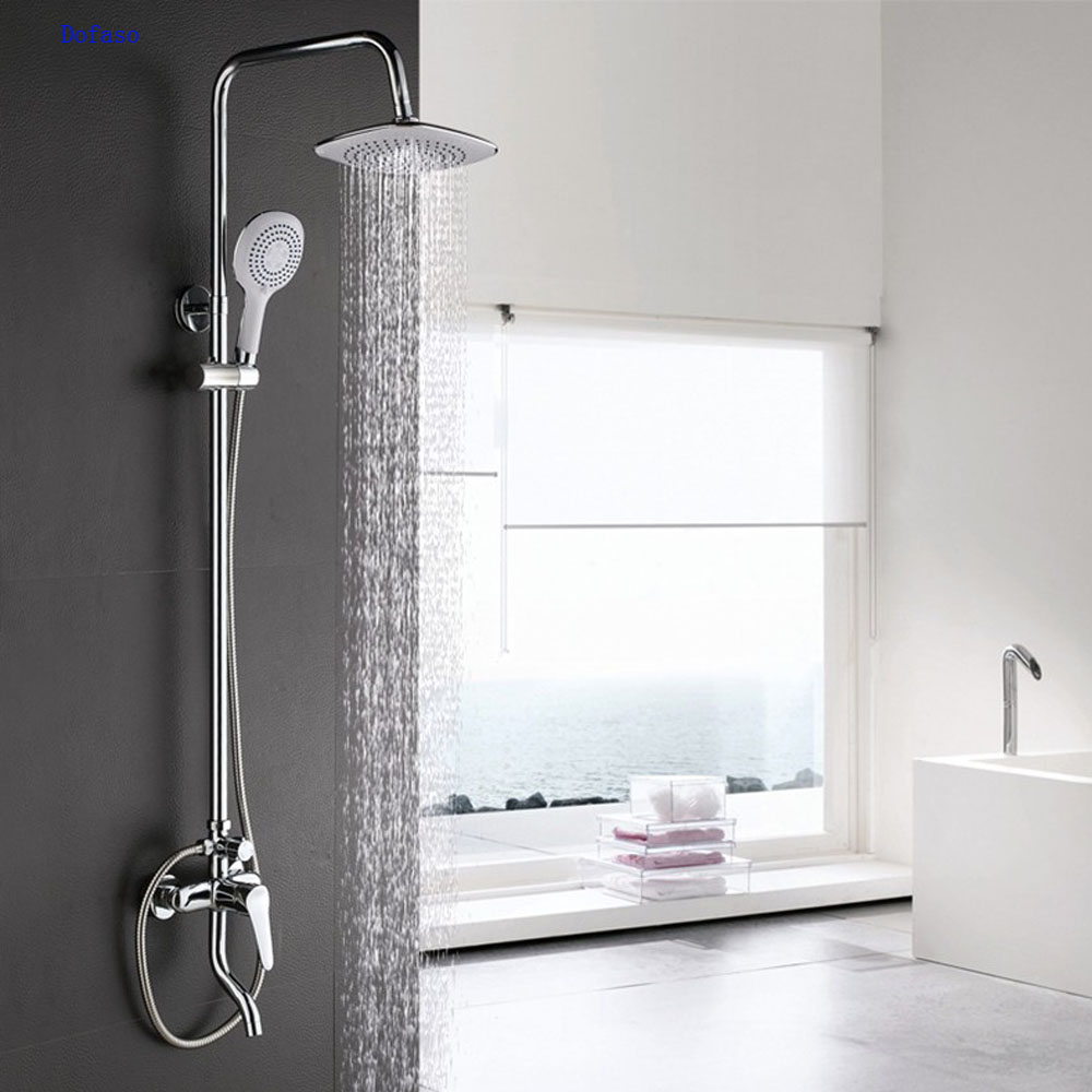 Dofaso brand Chrome polished 8 Rain Shower Faucet System Wall Mounted Shower Mixer Tap with Hand shower head set faucet new chrome 6 rain shower faucet set valve mixer tap ceiling mounted shower set