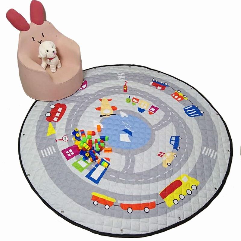 1.5m baby crawling pad cartton mat child play game mat, baby gym mat, children developing carpet toys storage bag WJ543 цена