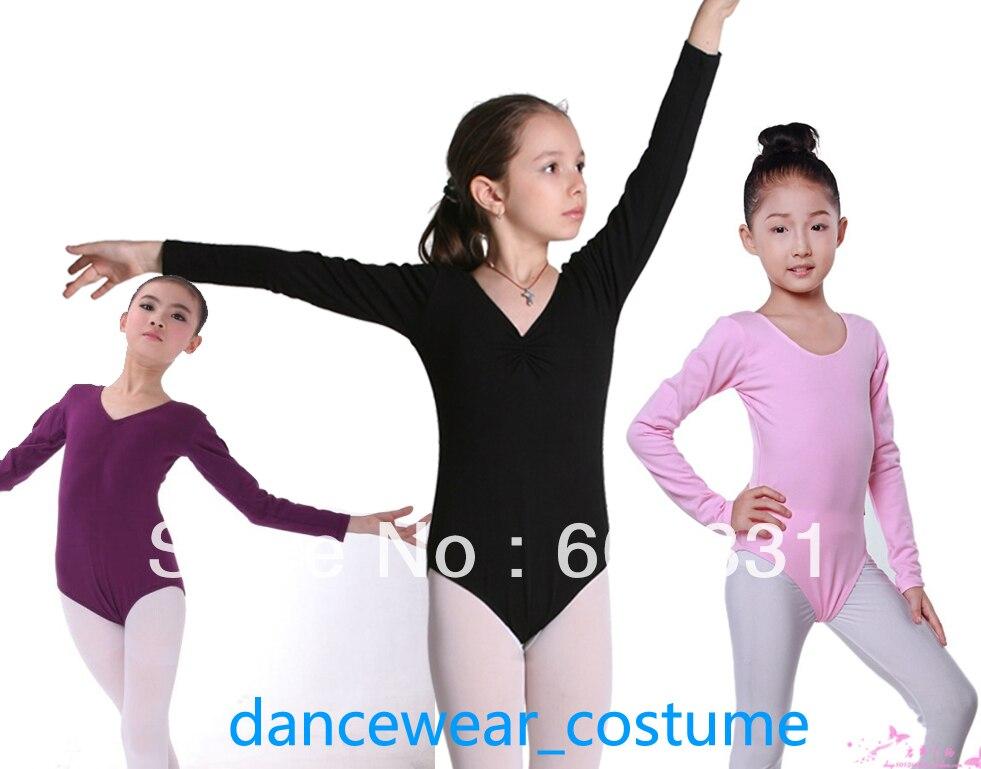Kids Girls Long-sleeve Ballet Dance Gymnastics Leotard Child Cotton Leotards Skate Dress SZ 3-8Y 4Colors - dance dress store