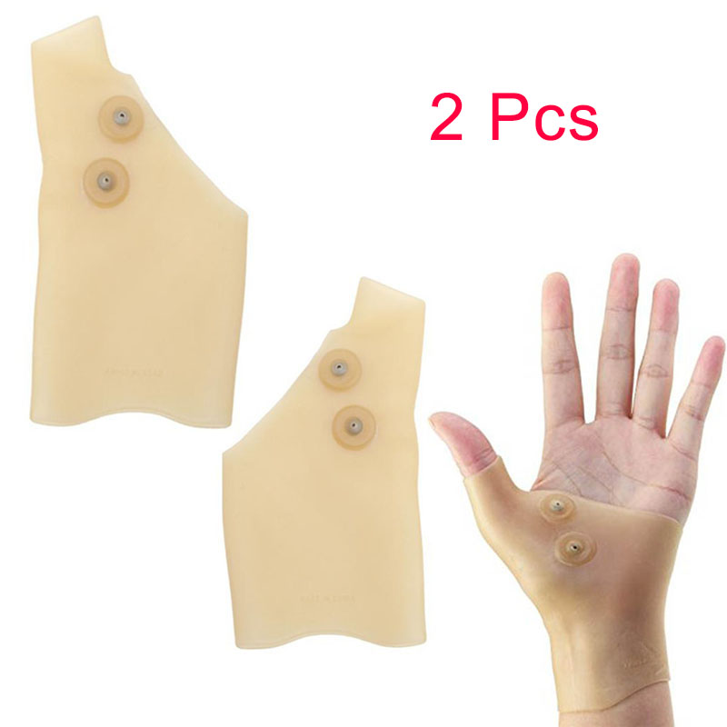 2 Pcs Silicone Magnetic Therapy Gel Wrist Glove Support Hand Thumb Gloves Pain Ease Healthcare Arthritis Pressure Corrector MFJ9