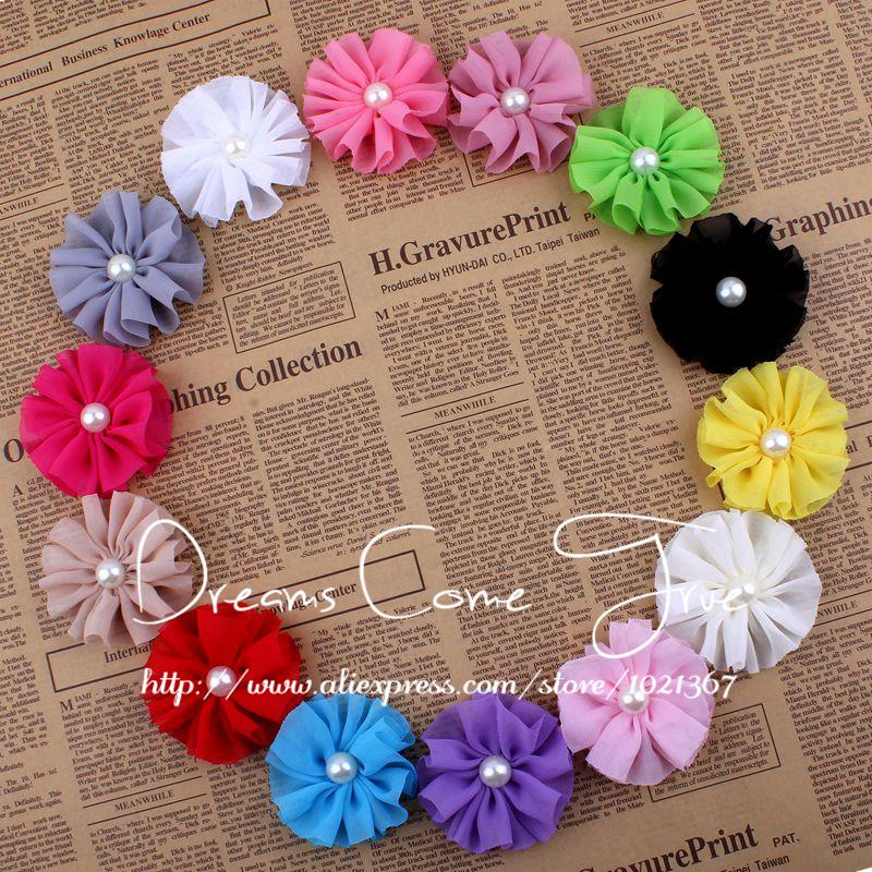 (50pcs/lot)6.5CM 14 Colors High Quality Artificial Chiffon Ruffled Pearl Center Fabric Flower For Baby Girl Hair Embellishment