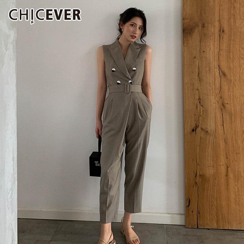 CHICEVER décontracté combinaison droite femmes revers sans manches hors épaule ceintures solide droite combinaisons femme mode nouvel été