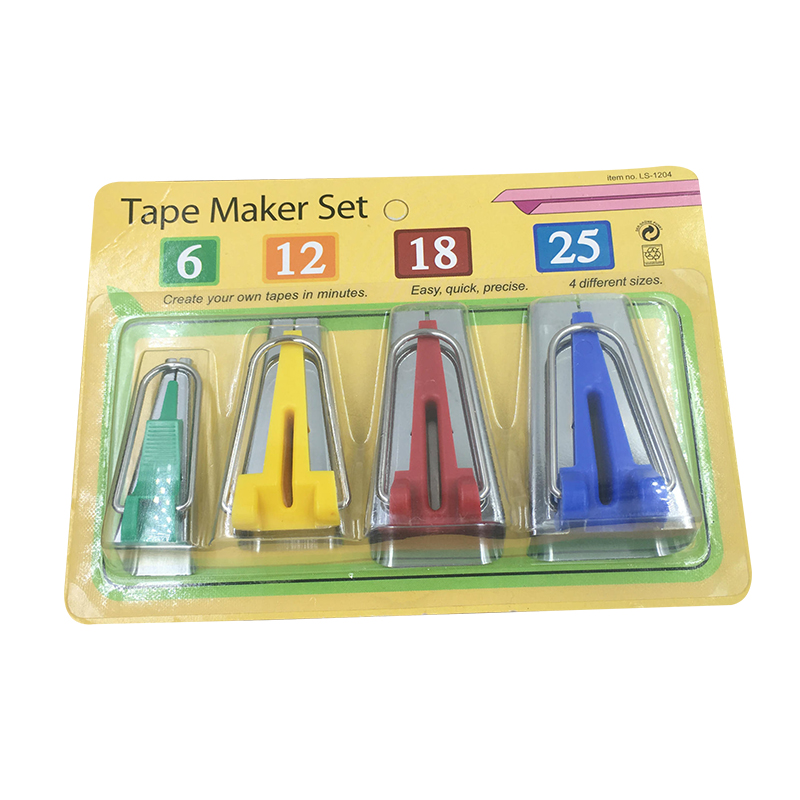 4pcs Fabric Bias Tape Maker Sewing Quilting Binding Tools and 50pcs Clips
