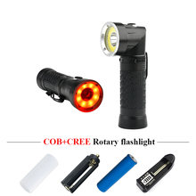 led torch flashlight 90 degree folding xml t6 18650 Dual light source Red white COB flash lantern with magnet