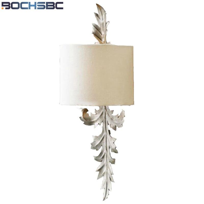Bochsbc French Leaf Wall Light Retro Style Iron Art Led Lamp