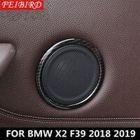 Auto Accessory For BMW X2 F39 2018 2019 ABS Door Speaker Audio Loudspeaker Sound Circles Cover Trim Matte Carbon Fiber