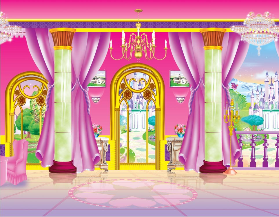 Poppenhuis Behang 7x5ft Pink Princess Cartoon Dressing Fitting Room Castle