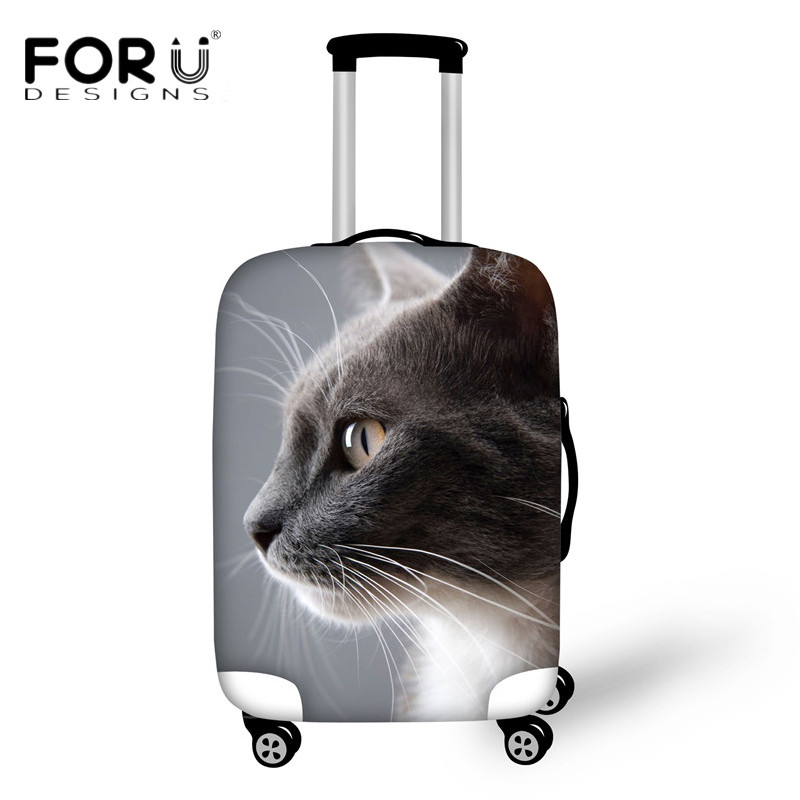 FORUDESIGNS Travel Suitcase Cover Apply To 18-30 Inch Cases Kawaii 3D Cat Pattern Luggage Protective Covers Waterproof Anti-dust