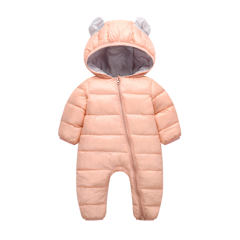 Cute 2018 Autumn - winter baby   rompers   with hoodie ear , so cute winter jumpsuit newborn - 24M infant coat for boys girls cloth
