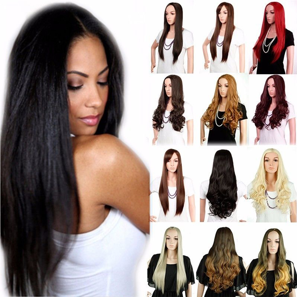 Ladies 25 Long Straight Half Wig Heat Resistant Dark Brown Blonde 3/4 Full Head Wigs Thick Free Shipping original gm60a portable mimi led video projector with wifi micacast airply for iphone ipad samsung android mobile phone pc