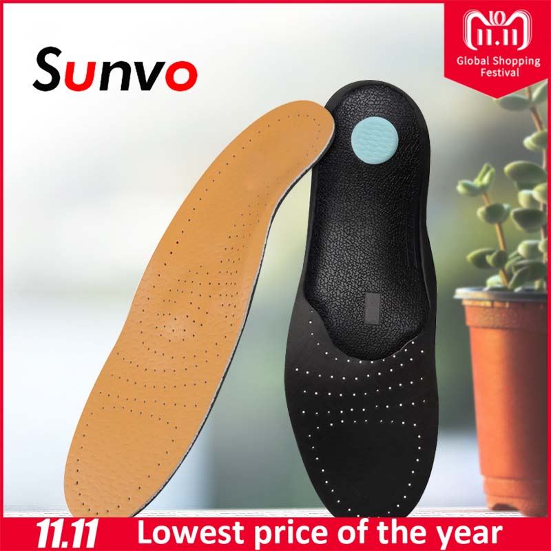 Sunvo Leather Orthopedic Insoles Flat Foot Arch Support Shoes Pad for Men Women Corrective O/X Leg Care Orthotics Insole Inserts стоимость