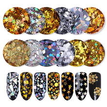 2Boxes Gold Silver Nail Sequins Round Star Маркиз Немесе Paillette Nail Flakies DIY Nail Art үшін маникюр безендіру