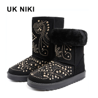 UKNIKI Shoes Women Boots Winter Snow Boots With Short Plush Mid Calf Boots