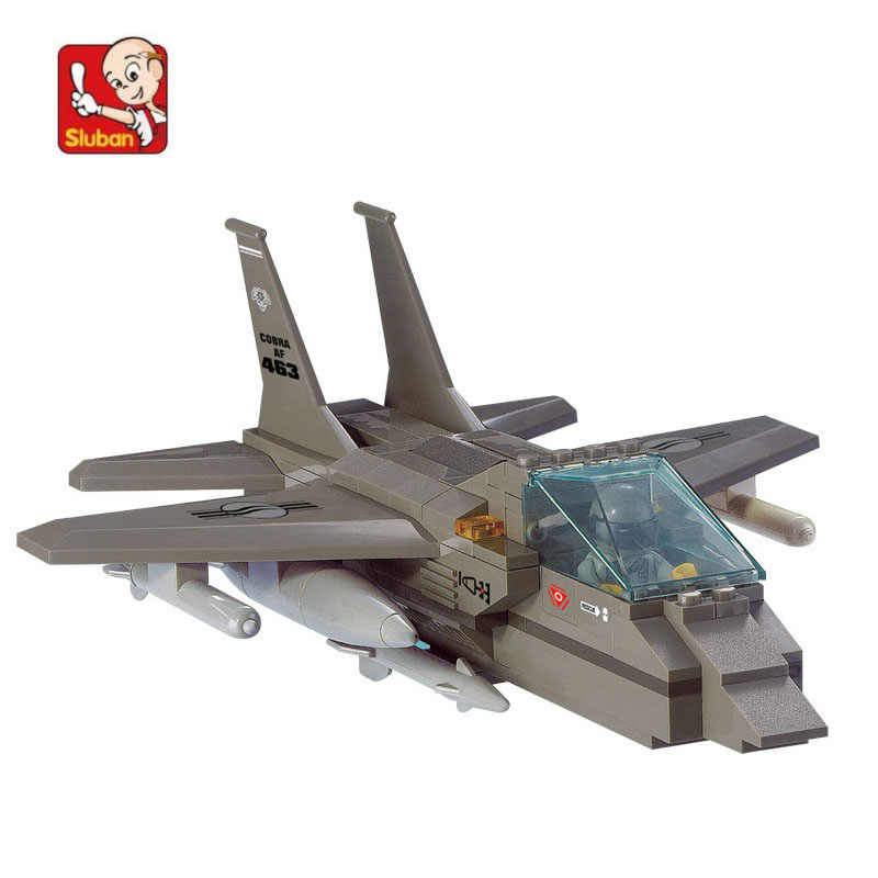 142 pcs Building Block Sets Compatible with lego military F-15 Fighter 3D Construction Brick Educational Hobbies Toys for Kids