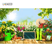 Laeacco Garden Flowers Tools Shoes Basket Blackboard Photography Background Customized Photographic Backdrops For Photo Studio(China)