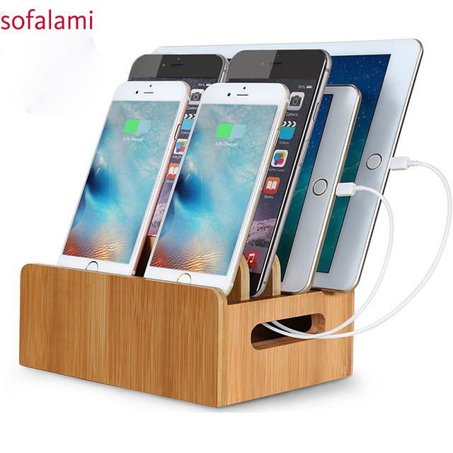 Natural Bamboo Wooden Universal Charging Stations Dock Stand Multi Device Organizer For Phones Pad Tablets