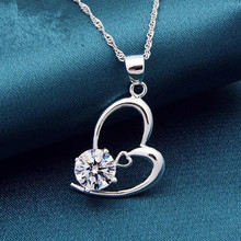 Everoyal Trendy Zircon Purple Heart Pendant Necklace For Women Jewelry Fashion Silver 925 Girls Clavicle Lady Birthday