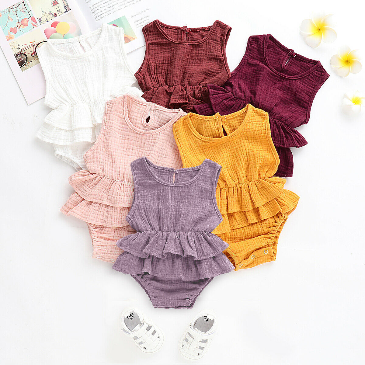 Newborn Baby Girls Boys Romper Solid Jumpsuit Linen Cotton Short Sleeve Ruffled Bodysuit Infant Summer Clothes Outfit
