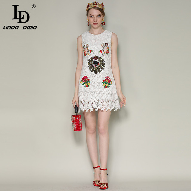 Women's Sleeveless Angel Flower Embroidery Beading Elegant White Lace Dress