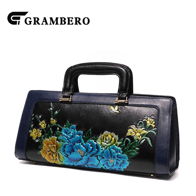 Chinese Style Flower Pattern Handbag Genuine Leather Top Leather Zipper Top-handle Bag Noble Women Shoulder Crossbody Bags Gifts fashion relief rose flower pattern handbag pu leather genuine leather zipper ring top handle bag lady party shoulder bags gifts