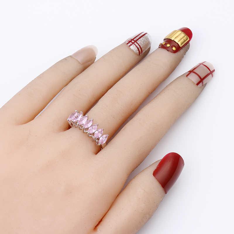 כסף Stackable טבעת לנצח עגול ברור CZ טבעות לנשים אירוסין & חתונה תכשיטי מתנת אופנה סגול ירוק ורוד צבעים