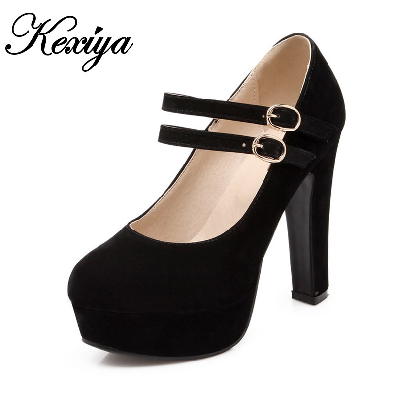 2015 New fashion Spring/Autumn big size 31-47 women shoes sexy Round Toe solid Flock Mary Janes Platform high heels HLE-99-9 memunia 2017 fashion flock spring autumn single shoes women flats shoes solid pointed toe college style big size 34 47