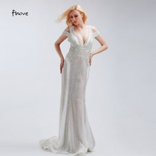 Finove Mermaid Wedding Dresses Backless V-neck Sleeveless