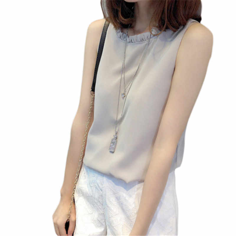 Women Casual Summer Chiffon Tops Blouse Shirt Sleeveless Loose Blouse Female Office Lady Blusas Top Beach For Work New Gray