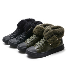 Super quality 1pair winter Genuine Leather Fashion Boot Children's boy shoes, inner 19-22.5cm