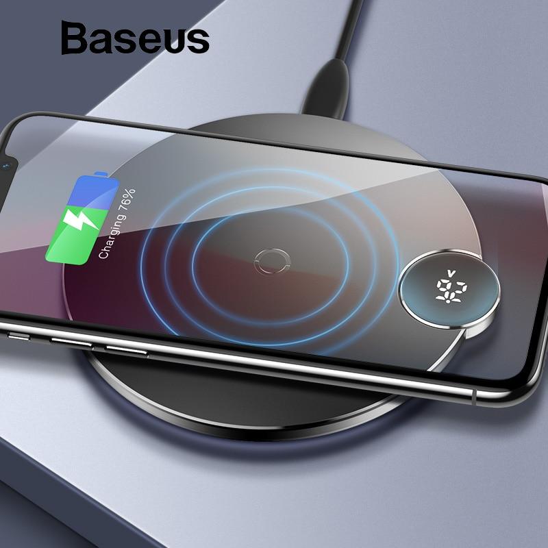 Baseus LED Display Digital Carregador Sem Fio para iPhone XS Max XR X 8 Qi Almofada de Carregamento Sem Fio para Samsung Galaxy s8 S9 + Nota 9 8