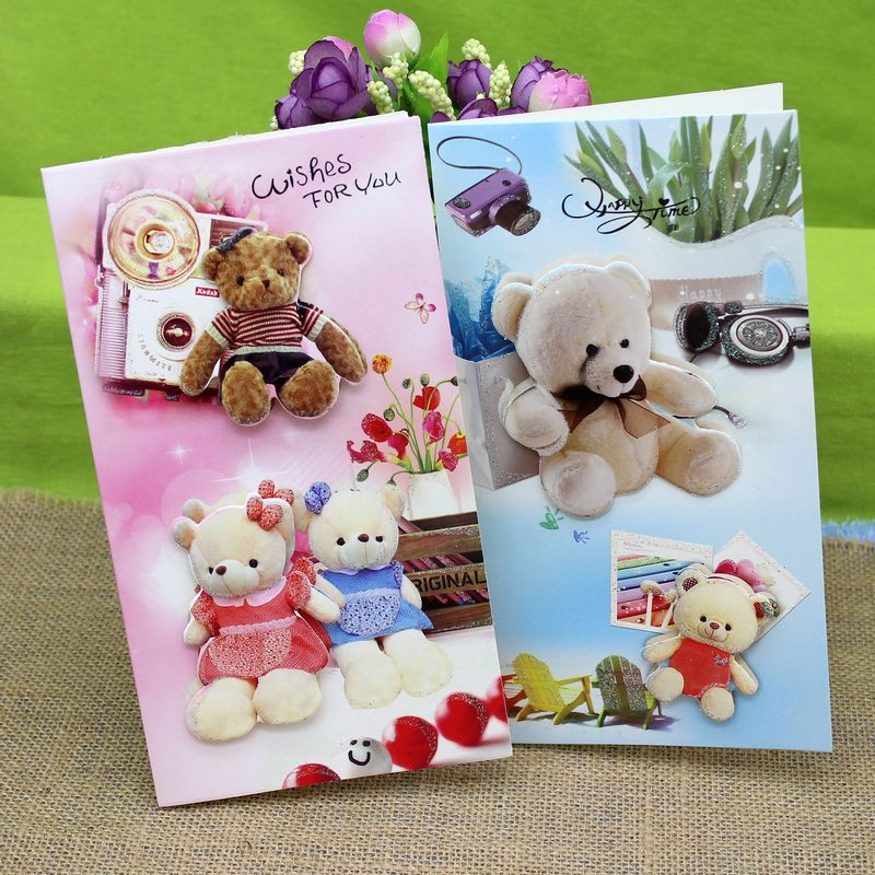 16 pieceslotkorea hot cute cartoon bear greeting cards creative 16 pieceslotkorea hot cute cartoon bear greeting cards creative three dimensional happy birthday card free shipping in cards invitations from home m4hsunfo