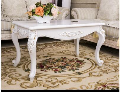 Rural sitting room tea table. Ivory white coffee table. Solid wood table, tea table