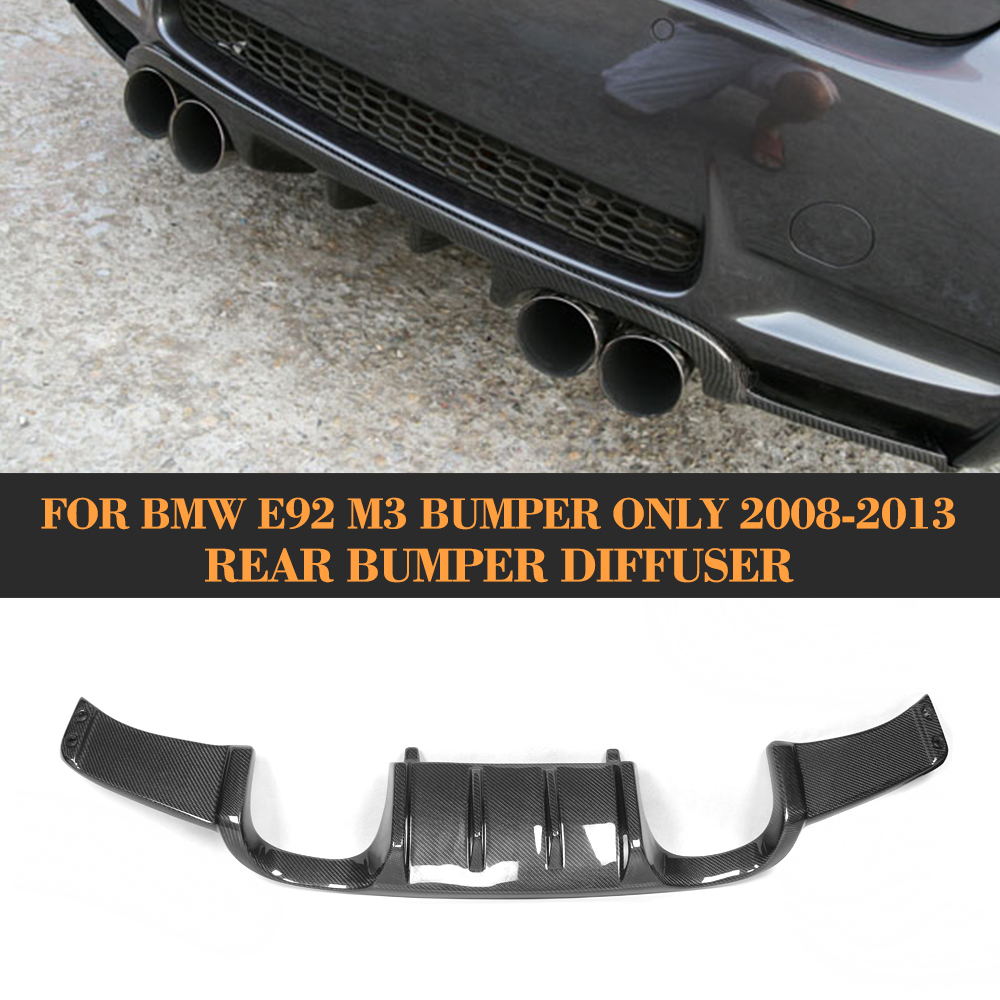 Carbon Fiber Add On Rear bumper Lip Spoiler Diffuser For BMW E92 Coupe E93 Convertible M3 2008-2013 Non 4 Door H3 Style olotdi carbon fiber front lip spoiler gts style front bumper for bmw e92 e93 m3 bumper car styling accessories factory