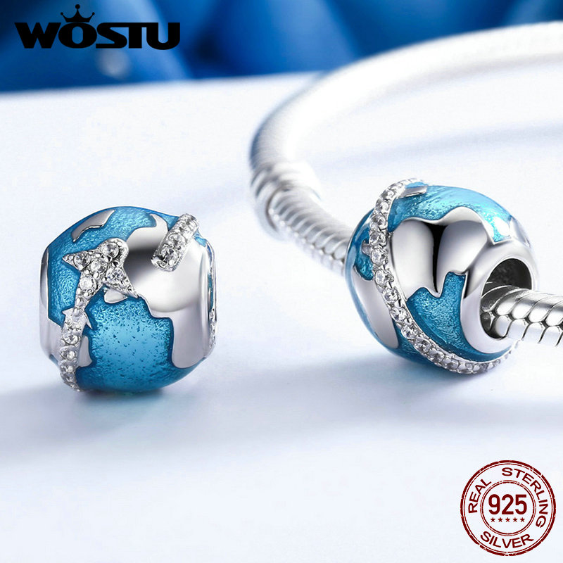 WOSTU 925 Sterling Silver I Love Travel & The World Beads Fit Original WST Charm Bracelet DIY Fine Jewelry Gift FIC183 wostu authentic 100% 925 sterling silver cute owl love story charms fit original wst bracelets diy jewelry gift cqc425