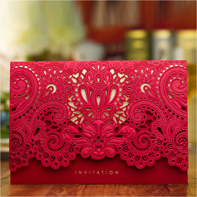 New GoldRed Wedding Invitation Cards 2017 High Class Laser Cut