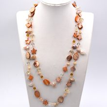 2019 Europe Brand Luxury Light Brown Mother Of Pearl Shell Seed Beads Long Pearl Necklace New Fashion Jewelry Dress Accessories(China)