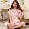 Conjuntos de Cetim De Seda do Pijama de verão para Mulheres Com Decote Em V 2 Cores Calções Sleepwear Pijama Tops e Calças de Pijama Feminino Pijama S6-1